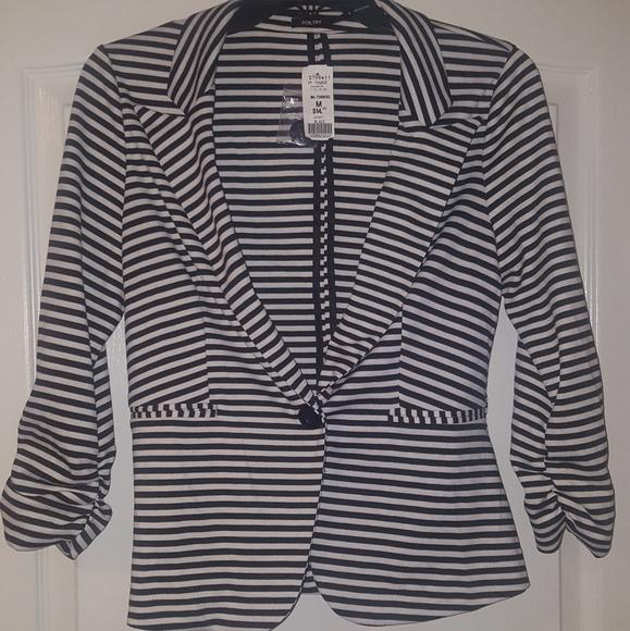 Poetry Jackets & Blazers - Poetry Black & White Striped Blazer